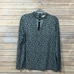NWT Michael Michael Kors Long Sleeve Print Blouse